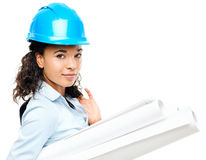 African American businesswoman architect holding blueprints isol Stock Photos