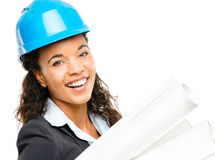 African American businesswoman architect holding blueprints isolated Stock Image