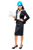 African American businesswoman architect holding blueprints isolated Stock Photography