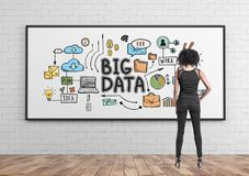 African American businesswoman, big data. Rear view of a young African American businesswoman wearing a suit and high heels. A whiteboard background with a big royalty free stock images