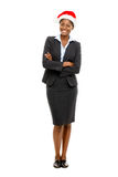 African American businesswoman christmas santa hat full length  Royalty Free Stock Photography