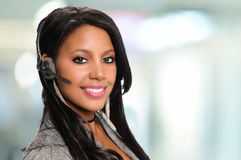 African American Businesswoman With headset Stock Image