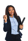 African American Businesswoman Holding Keys Stock Photo