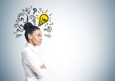 African American businesswoman, idea, questions Stock Photo