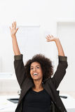 African American businesswoman rejoicing Royalty Free Stock Image