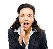African american businesswoman shouting isolated white backgroun Royalty Free Stock Photos