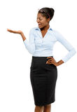 African American businesswoman showing empty copy space Stock Photo