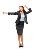 African American businesswoman showing empty copyspace isolated Stock Photos