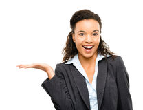 African American businesswoman showing empty copyspace isolated Royalty Free Stock Images