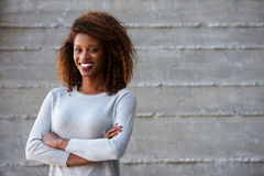 African American Businesswoman Standing Against Office Wall Stock Photography