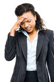 African american businesswoman stressed isolated white backgroun Royalty Free Stock Image