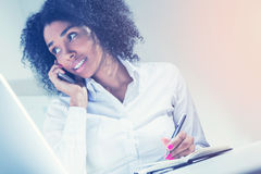 African American businesswoman talking on phone Royalty Free Stock Images