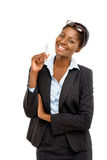 African American businesswoman white background Stock Photos