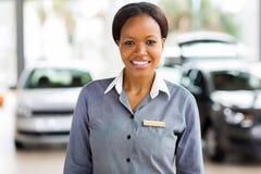 African american car saleswoman royalty free stock photos