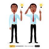 African cartoon business man get an idea flat vector is Stock Images
