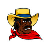 African american cartoon cowboy man in hat Royalty Free Stock Photo