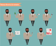 African American character for scenes.Parts of body template for animation. Funny office man cartoon.Vector illustration  on white background.Business Elements Royalty Free Stock Photos
