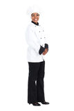 African american chef. Full length portrait of african american female chef over white Stock Images