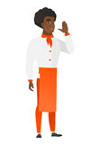African-american chef cook calling for help. Royalty Free Stock Images