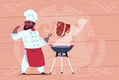 African American Chef Cook Grill Meat On Bbq Cartoon Restaurant Chief In White Uniform Over Wooden Textured Background Royalty Free Stock Photography