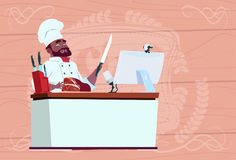 African American Chef Cook Making Video Blog Cookong At Computer Desk Streaming Cartoon Restaurant Chief In White. Uniform Blogger Flat Vector Illustration Royalty Free Stock Image