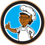 African American Chef Cook Thumbs Up Circle Stock Image