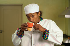 African American Chef Drinking Coffee Stock Image