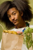 African American Chef with Groceries Royalty Free Stock Photos