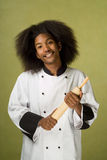 African American Chef Holding Rolling Pin Royalty Free Stock Image