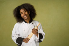 African American Chef Holding Rolling Pin Royalty Free Stock Photos