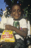 An African-American child. Eating snack food Royalty Free Stock Photos