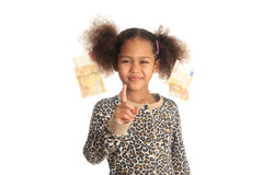 African American child with Asiatic black money Royalty Free Stock Photography