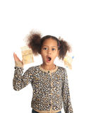African American child with Asiatic black money. On hair metisse curly euros Royalty Free Stock Photo