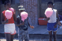 African-American children eating cotton candy, Natchez,MI Stock Photos
