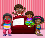 African american children in living room Stock Images
