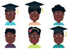 African american children students. Graduation class. School Boys and Girls, vector illustration. Graduation students, vector set stock illustration