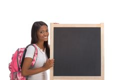 African American College student by blackboard Royalty Free Stock Images