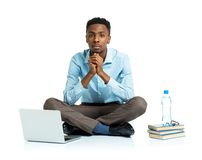 African american college student with laptop, books and bottle Stock Photos