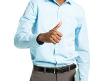 African american college student standing with laptop and finger Royalty Free Stock Photo