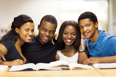 African american college students. Group of african american college students in library Royalty Free Stock Photography