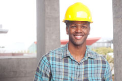 African American construction worker Stock Images