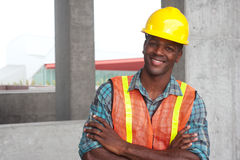 African American construction worker. Portrait of an African American construction worker on location Royalty Free Stock Image