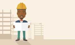 African-american Construction worker holding the Stock Images