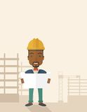 African-american Construction worker holding the Royalty Free Stock Photography