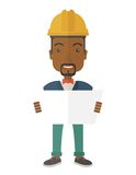 African-american Construction worker holding the Stock Image