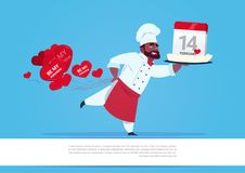 African American Cook Holding Cake With Calendar For Happy Valentines Day Celebration 14 February Holiday Concept. Flat Vector Illustration stock illustration