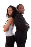 African American couple back to back - Black people. Isolated on white background Stock Image
