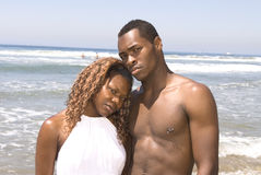 African American Couple at Beach Stock Photo