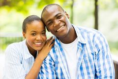 African american couple. Close up portrait of african american couple outdoors stock photo