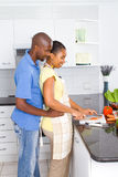 African american couple cooking Royalty Free Stock Photo
